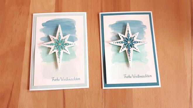 Das erste Projekt: Diese glitzernde Weihnachtskarte