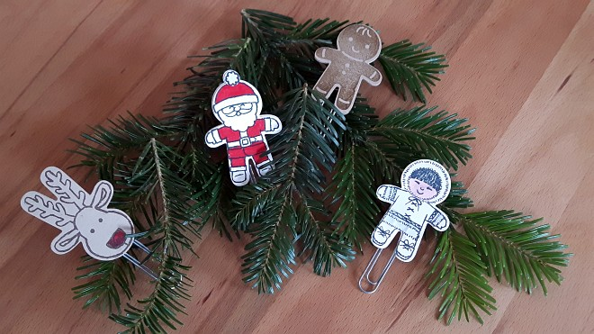Das dritte Projekt (Kinder-Projekt): Nikolaus, Rentier, Lebkuchenmann und Eskimo tummeln sich auf extragroßen Büroklammern!