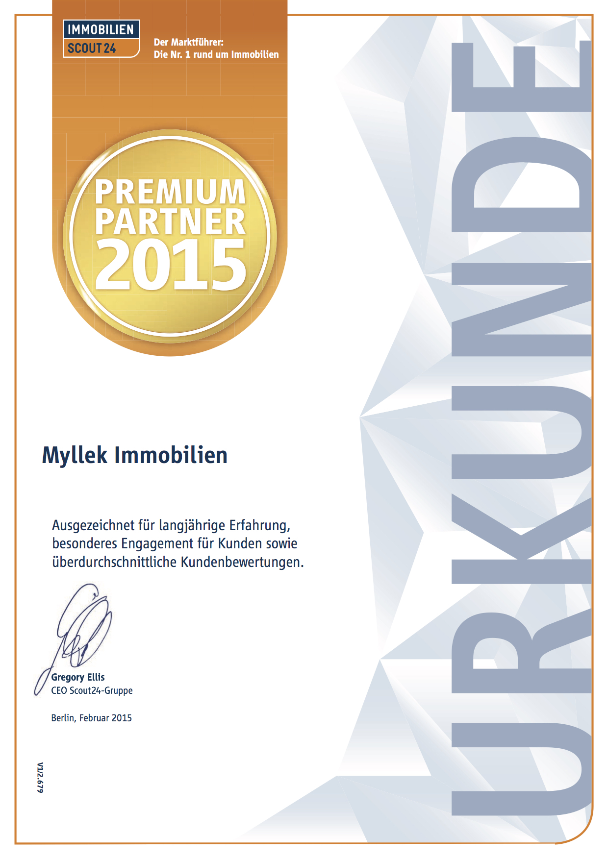 MYLLEK IMMOBILIEN  Premium Partner 2015