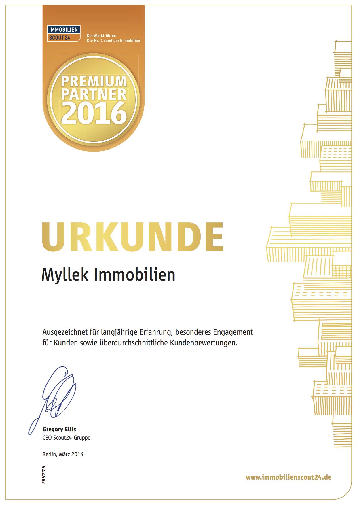 MYLLEK IMMOBILIEN  Premium Partner 2016