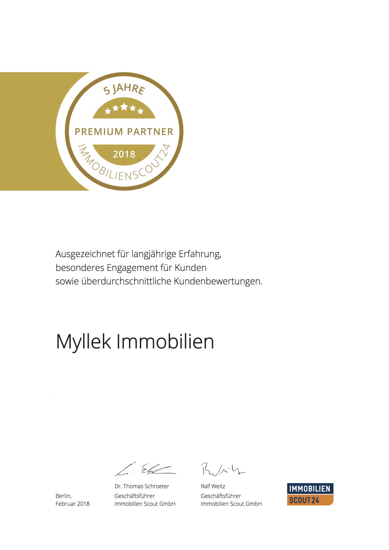 MYLLEK IMMOBILIEN  JAHRE PREMIUM PARTNER 2018