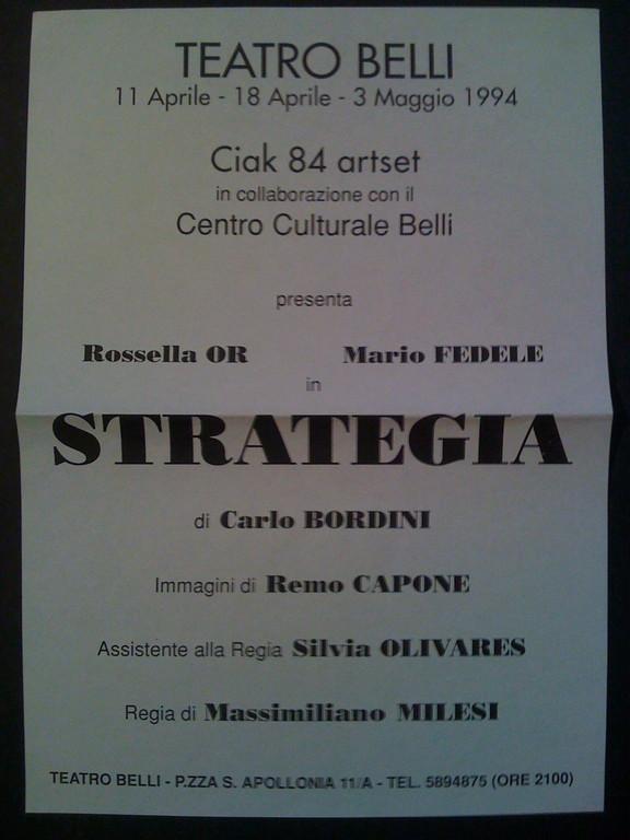 Spettacolo di Teatro di Poesia da Carlo Bordini, primavera 1994
