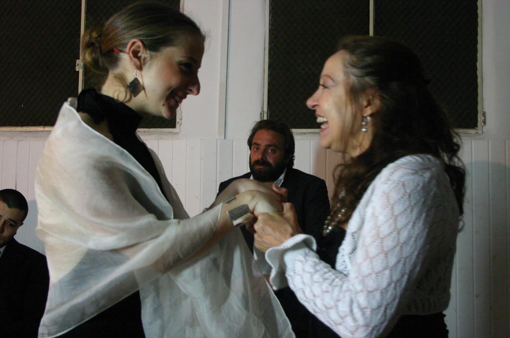 """Maggio 2009 - Backstage """"IL GIARDINO DEI CILIEGI"""" nella Sala Prove di Ciak'84: Giorgia Serrao,Andrea Cotrone, Carla Aversa"""