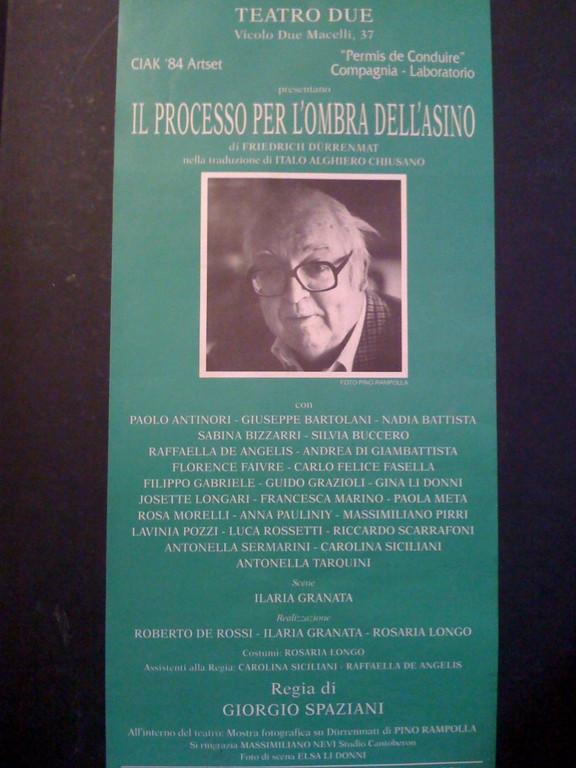 """Febbraio 1994 : va in Scena """"Progetto Durrenmatt"""""""