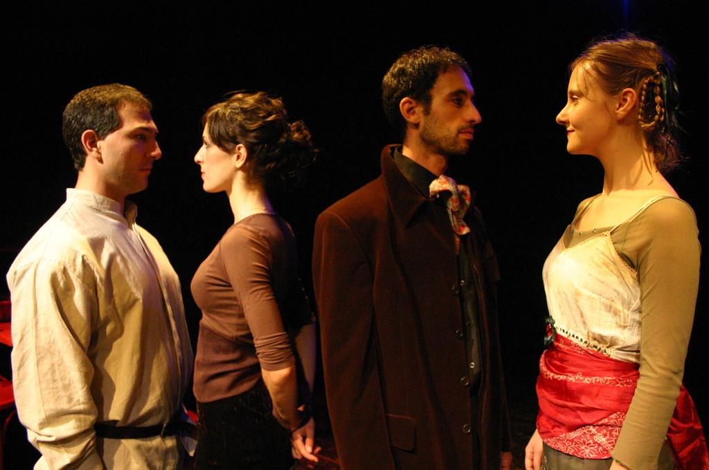 """Giugno 2008 - Teatro del Parco Tiburtino """"Cechov 1 e 1/2 """" : Stefano Dedalo, Francesca  Gabrielli, Luca Marengo, Irena Goloubeva"""