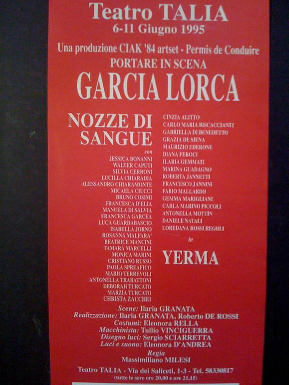 """Giugno 1995, Teatro Talia (ora """"Le Maschere"""") : la Seconda volta con Garcia Lorca"""