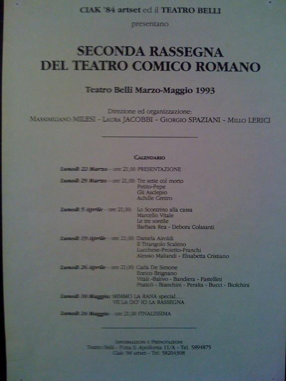 La Seconda Rassegna di Teatro Comico Romano, al Teatro Belli