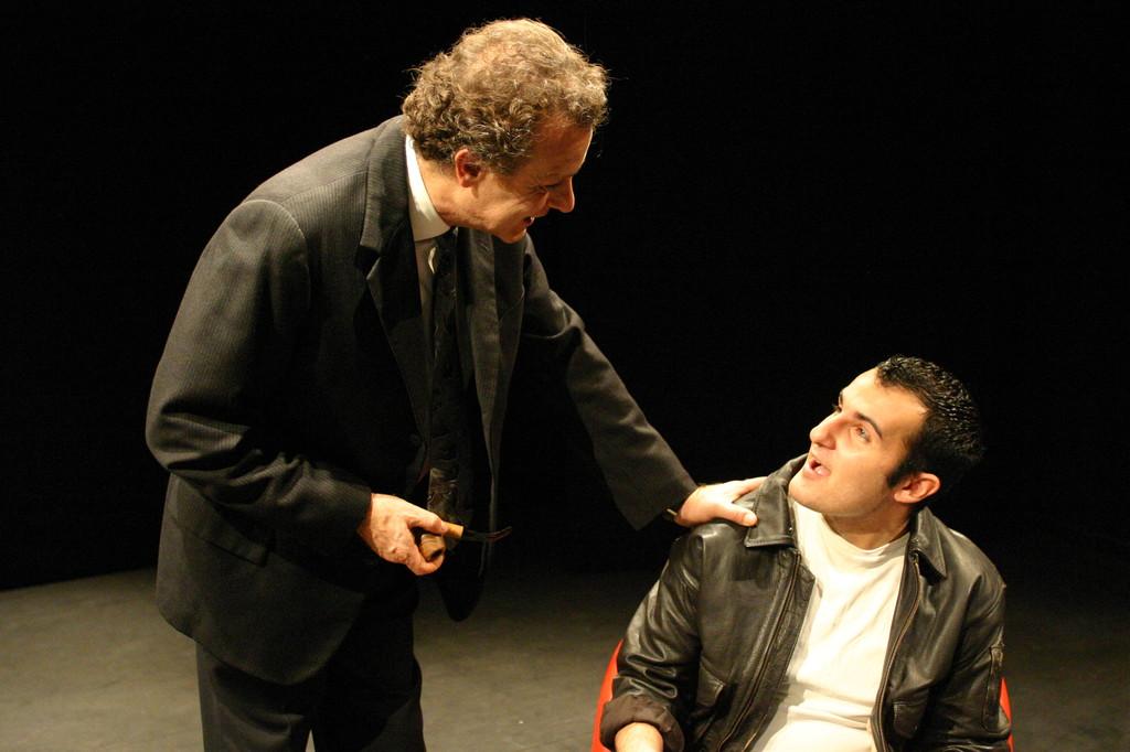 """Dicembre 2005 - """"Le Smanie per la Villeggiatura""""  al Teatro del Parco Tiburtino: Angelo Moriconi e Carmelo Scivoletto"""