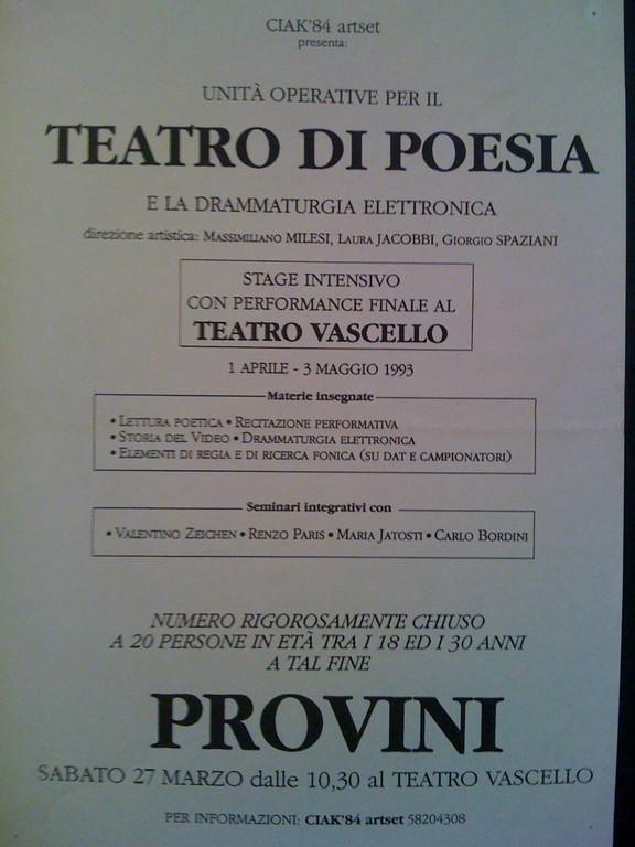 Marzo 1993 - Il Primo Gruppo Intensivo di Teatro di Poesia