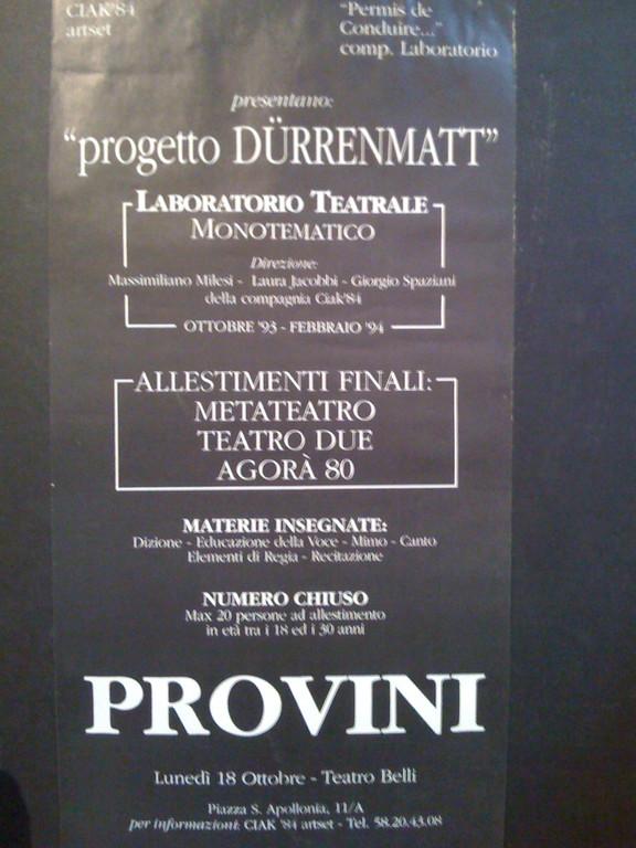 1993-94 inizia la Stagione dei Grandi Numeri alla Permis De Conduire : Progetto Durrenmatt