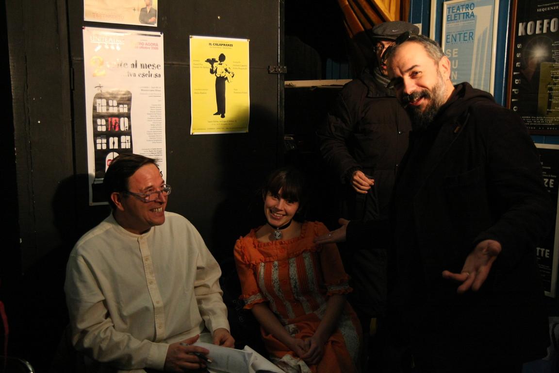 """Febbraio 2009-  """"Tuo Affezionatissimo Cechov"""" Prove al Teatro Elettra :Mauro Manni,Maria Grazia Manzotti e Massimiliano Milesi"""