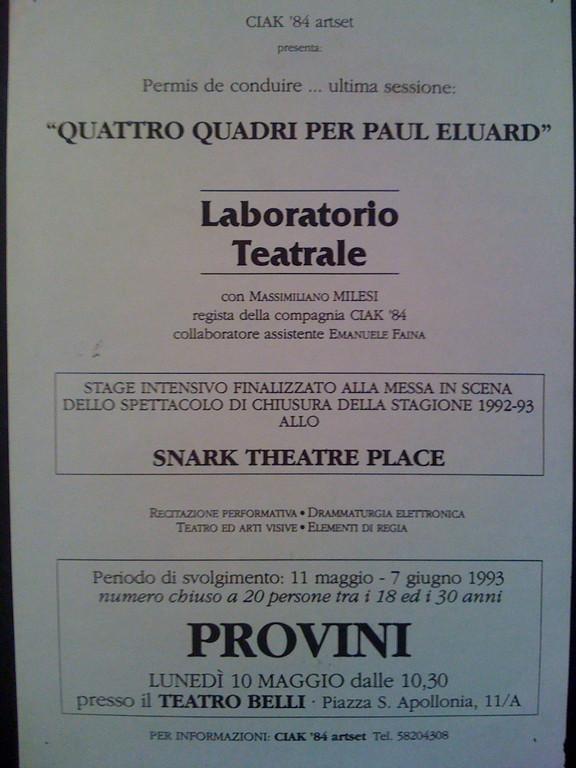 Locandina del Laboratorio su Paul Eluard, Primavera del 1993