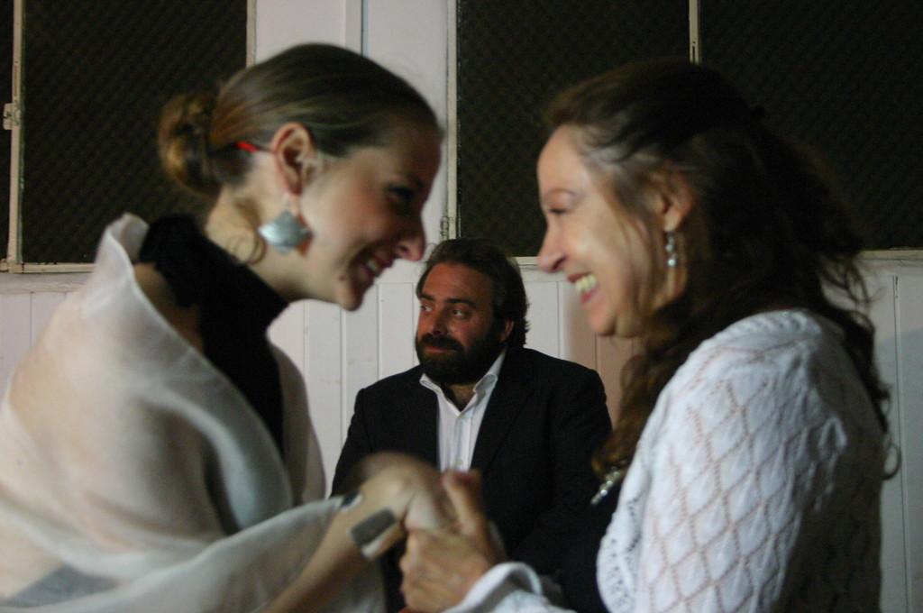 """Maggio 2009 - Backstage """"IL GIARDINO DEI CILIEGI"""" nella Sala Prove di Ciak'84:Giorgia Serrao,Andrea Cotrone, Carla Aversa"""