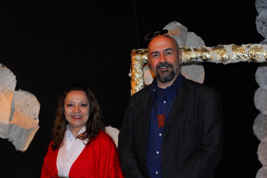 Carla Aversa e Massimiliano Milesi durante una pausa di AOI, Teatro Agorà. Maggio 2010