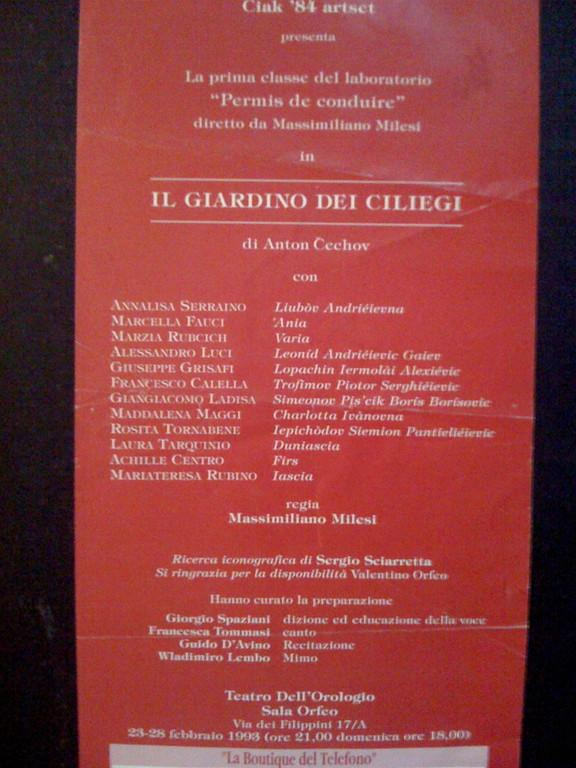 Febbraio 1993: va in Scena il nostro Primo Laboratorio al Teatro dell'Orologio- Sala Orfeo