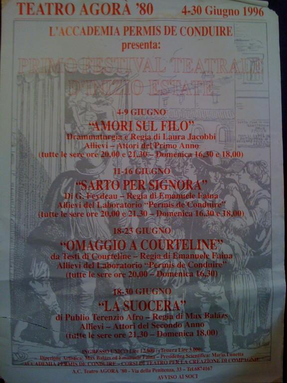 Estate 1996 : la prima Ondata di Saggi al Teatro AGORA'