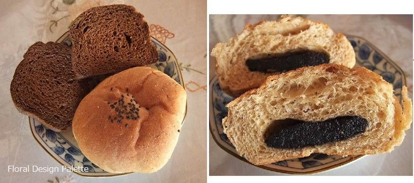 竹炭パンと米ぬかの黒ゴマあんパン