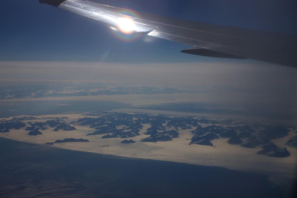 Irgendwo auf der Nordpolarroute - Das GPS funktioniert leider nicht im Flugzeug.