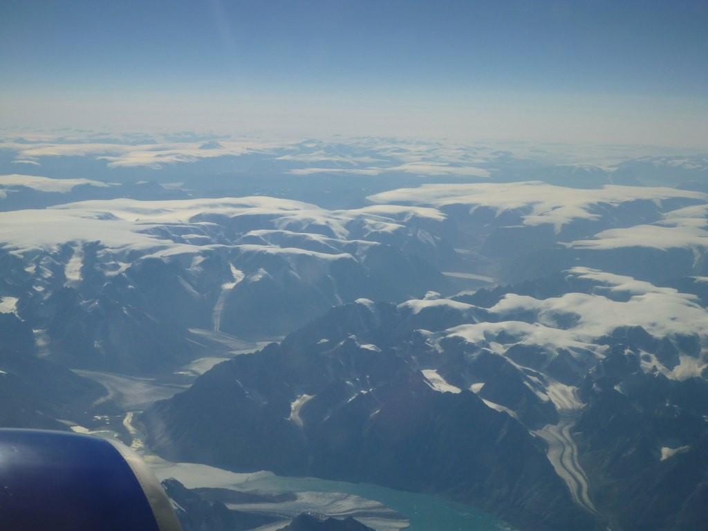 Über Grönland (Nordroute) geht es dann Richtung Whitehorse