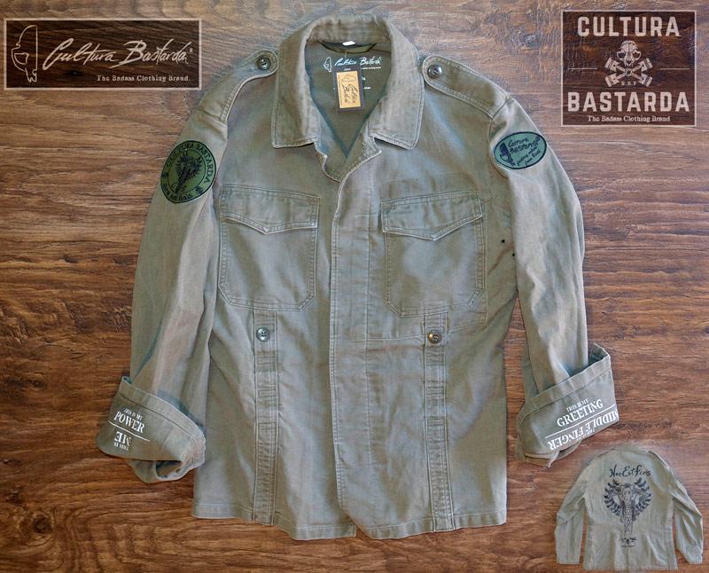 chaqueta, jacket, cafe racer, motera, cultura bastarda, moleskin, army, militar, vintage, parches, moto,