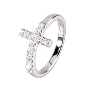 Anello argento con croce e zirconi
