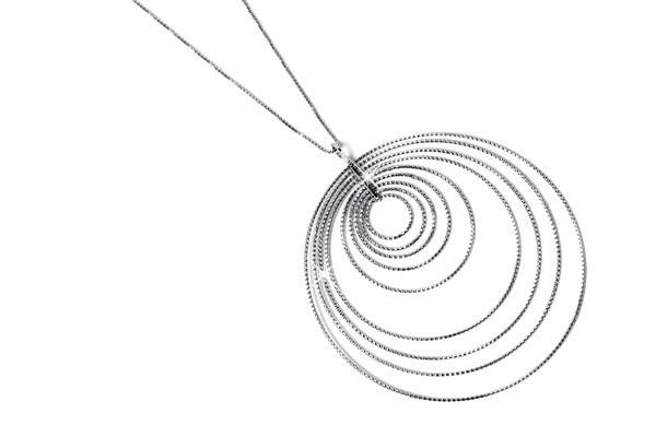Collana argento cerchi diamantati