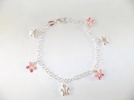 Bracciale argento e smalto bimba farfalle