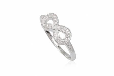 Anello argento infinito con zirconi
