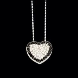 Collana argento con cuore zirconi bianchi e neri