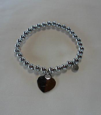 Bracciale argento con cuore piatto charms e palline