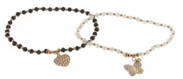 Bracciali argento elastici con pietre e charms