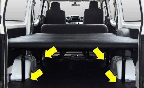 ハイエースにフレームベッドが付いているなら、脚カットタイプの立体ラゲッジマットです。