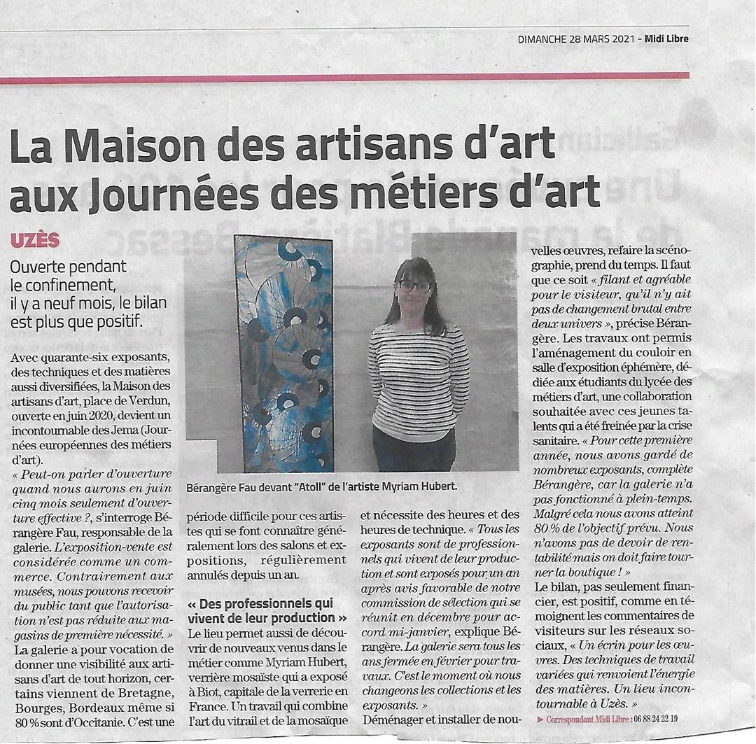 Midi Libre | Galerie des Artisans d'Art - Uzès (30)