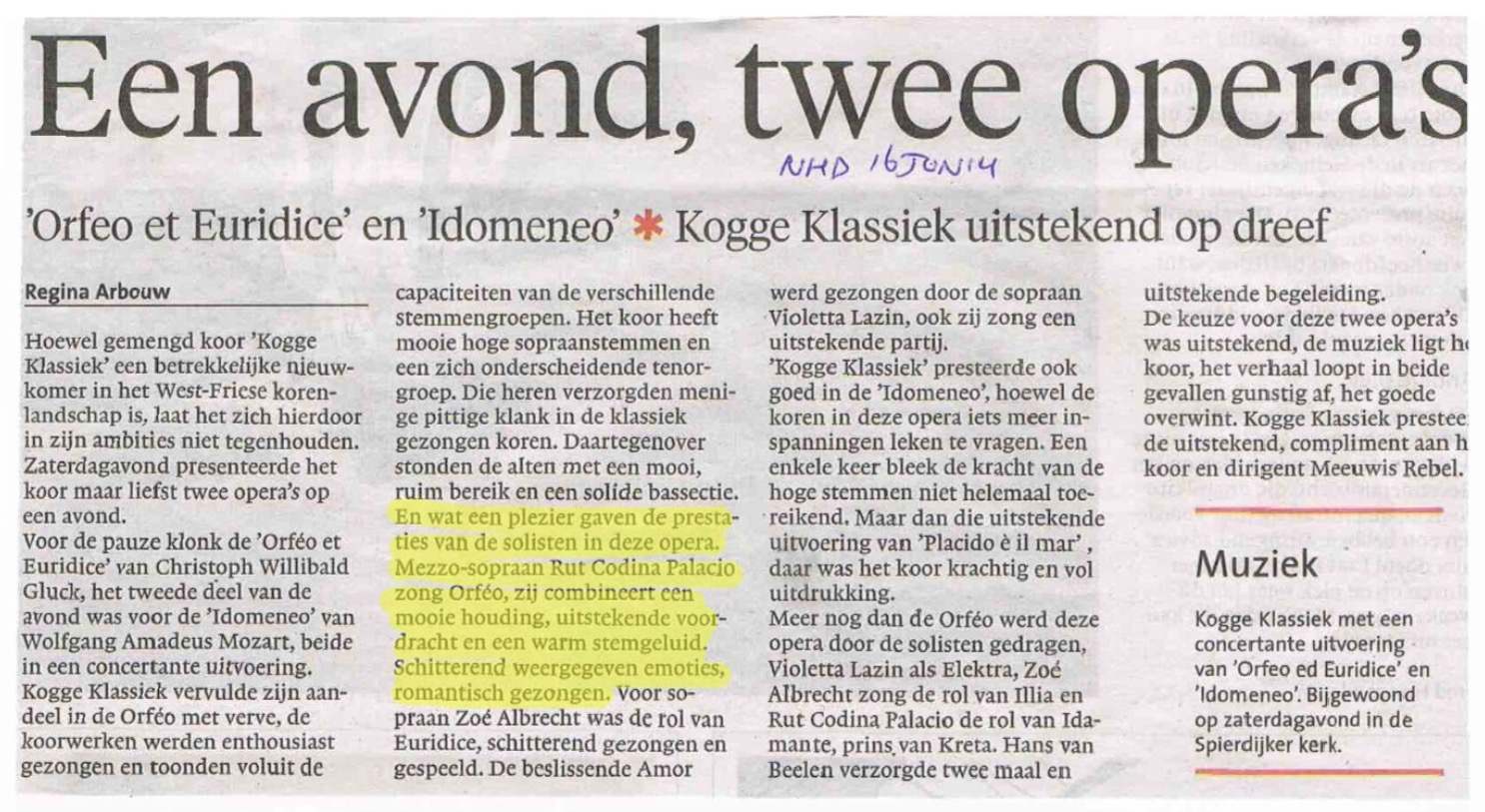Noord Holland Dagblad 16/06/2014