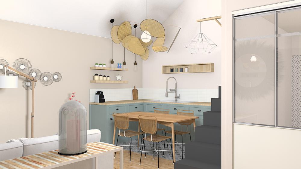 Décoration location saisonnière, ancien garage, mezzanine, couleurs douces, aménagement intérieur, cuisine ouverte
