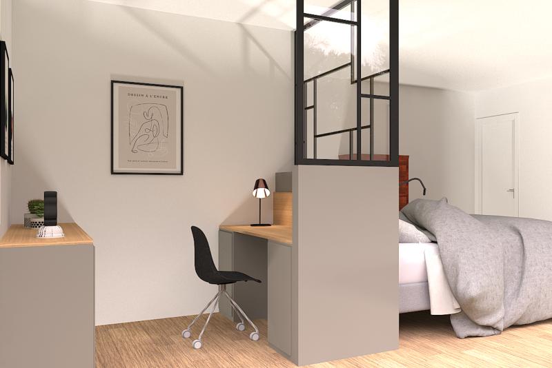 Meuble sur mesure, tête de lit sur mesure, verrière style art déco, bureau intégré, rangements, niches ouvertes, tête de lit contemporaine, reims