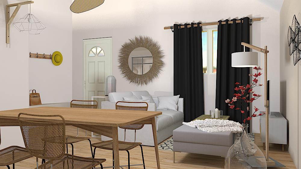 Décoration appartement location saisonnière, ancien garage, mezzanine, couleurs douces, aménagement intérieur, salon, séjour