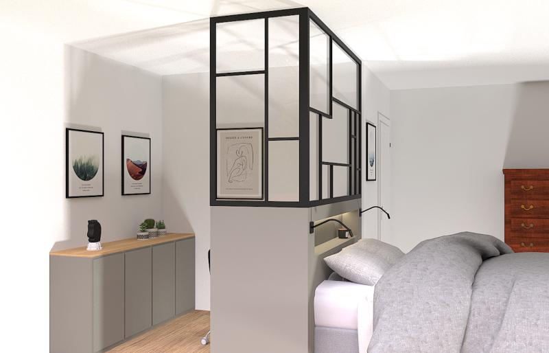 Meuble sur mesure, tête de lit sur mesure, verrière style art déco, menuiserie, niches ouvertes, tête de lit contemporaine, reims