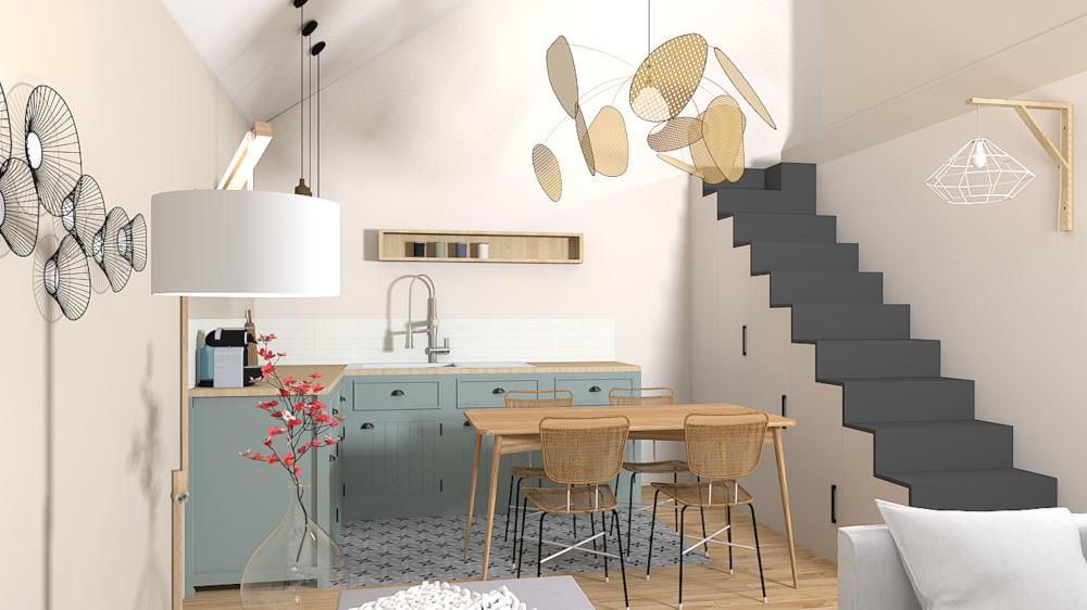Décoration appartement location saisonnière, ancien garage, mezzanine, couleurs douces, aménagement intérieur