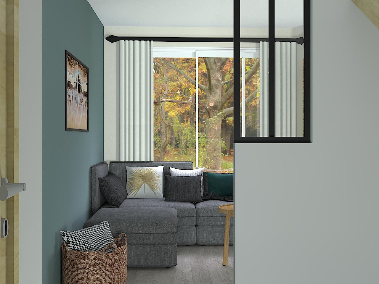 Salle de réunion, décoration, bleu, rouge, industrielle, bois, harmonisation, ambiance chaleureuse, suspensions ampoules, palette, chaise daw eames