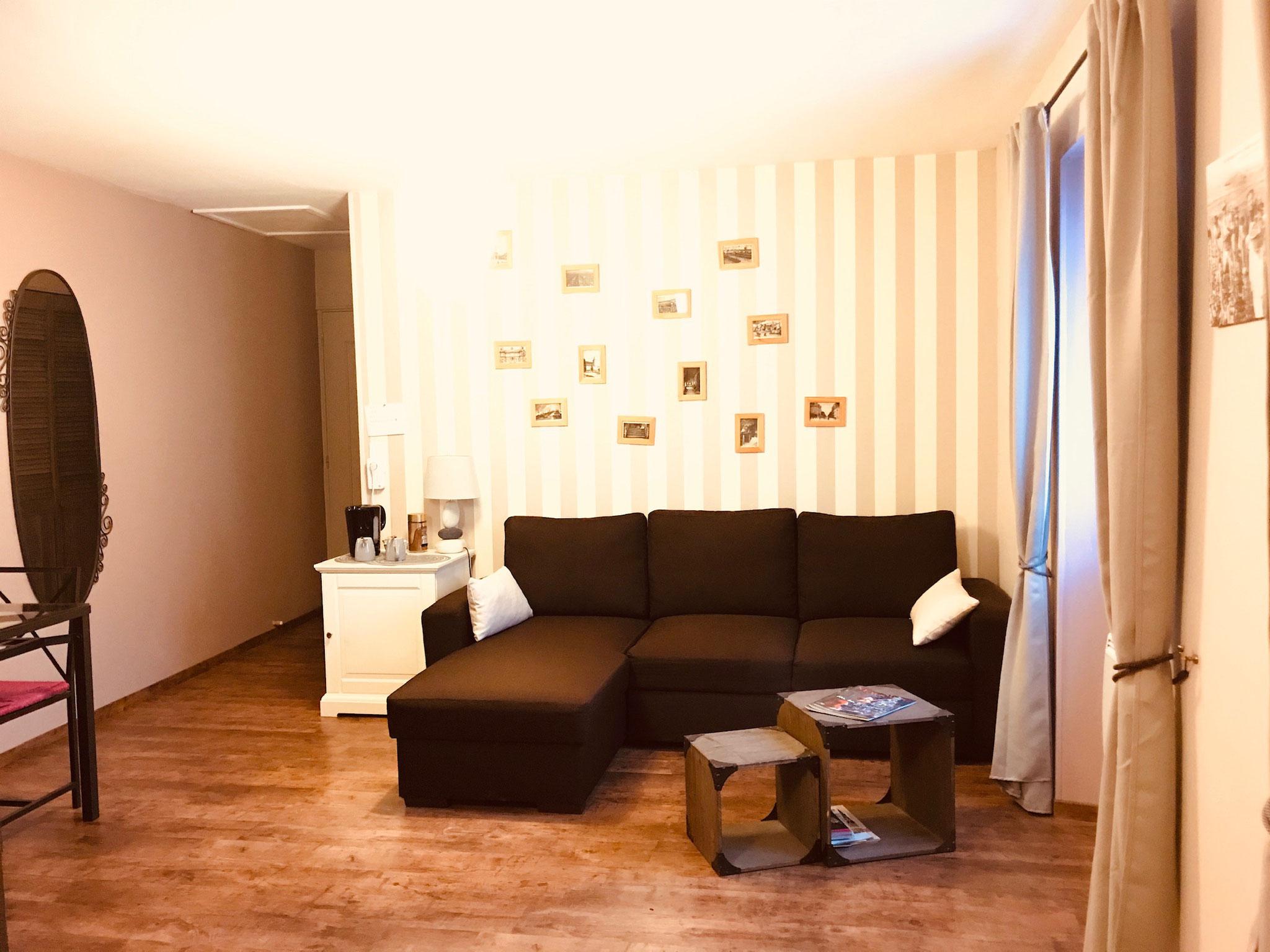 """Gîte """"Les Cépages"""", vue intérieure de la Chambre """"Pinot Noir"""" : espace de vie (canapé convertible, minibar)"""