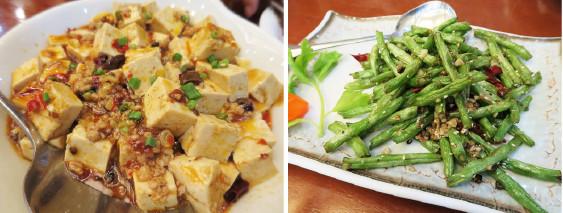 麻婆豆腐とインゲンの炒めもの