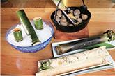 囲炉裏十番の竹めしと竹酒