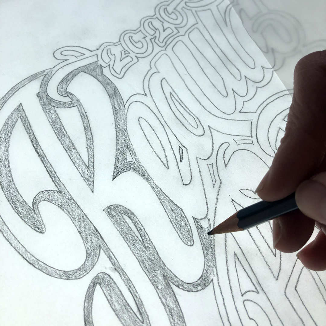 Skizzeren der Hinterglasvergoldung