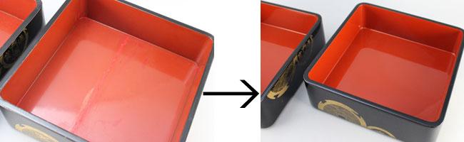 お重箱の部分漆塗り修理