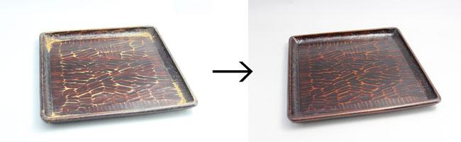 角盆の漆塗り修理