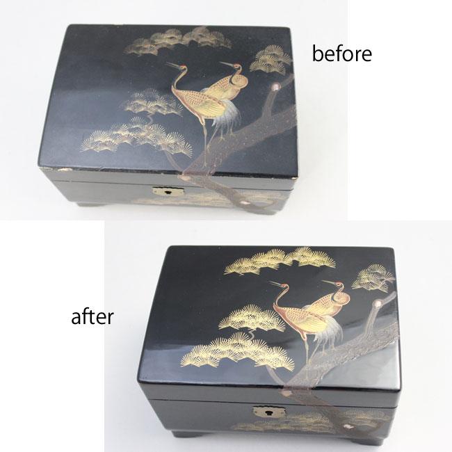 オルゴールの漆塗りと蒔絵の部分修理