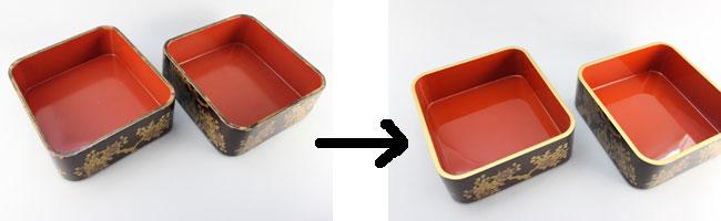 木製重箱の部分漆塗り修理