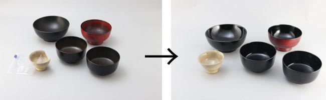 お椀の漆塗り直し、陶器の金継ぎなど