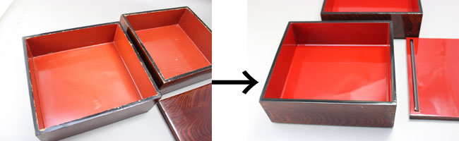 重箱の漆塗り修理
